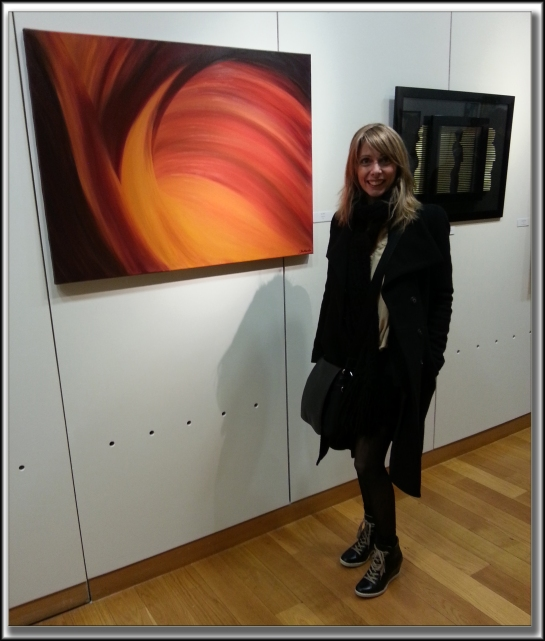 Here I am at the Art Opening last night, standing next to my painting, 'Enlightenment' Photo credits go to my sweet French Man