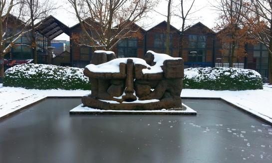Cool sculpture in a Paris 12th district park, St Emilion, surrounded by a partially frozen pond.Bellanda ®