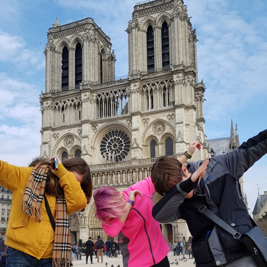 Notre Dame and my 2 darlings and their friend. Photo Credit: Bellanda